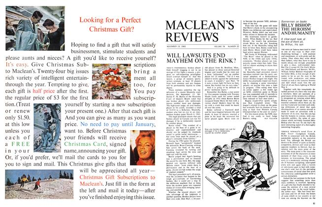 Article Preview: BILLY BISHOP: THE HEROISM AND HUMANITY, November 1965   Maclean's