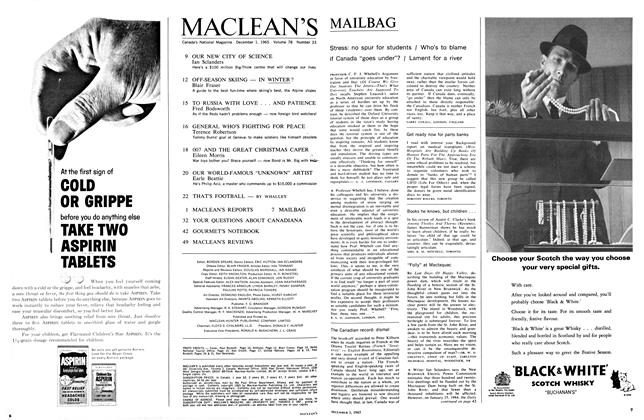 Article Preview: MAILBAG, December 1965 | Maclean's