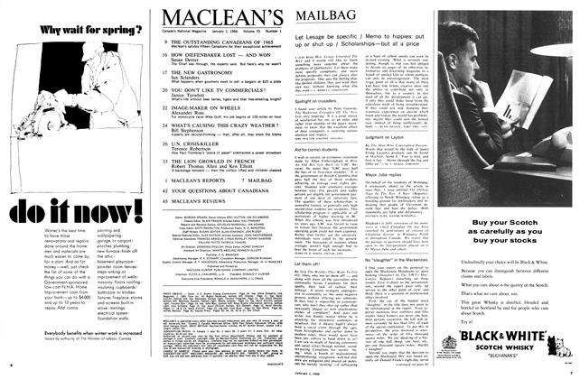 Article Preview: MACLEAN'S, January 1966 | Maclean's