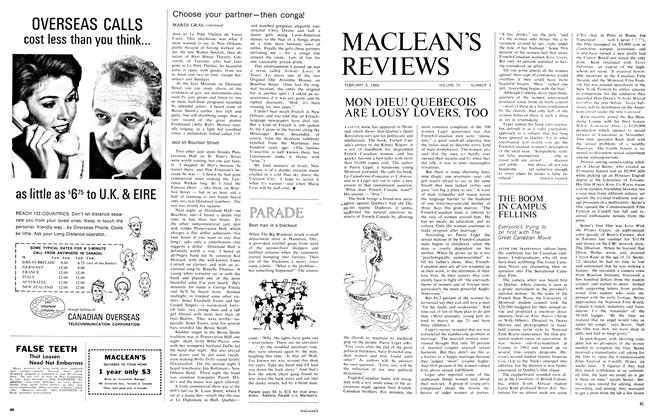 Article Preview: MON DIEU! QUEBECOIS ARE LOUSY LOVERS, TOO, February 1966   Maclean's