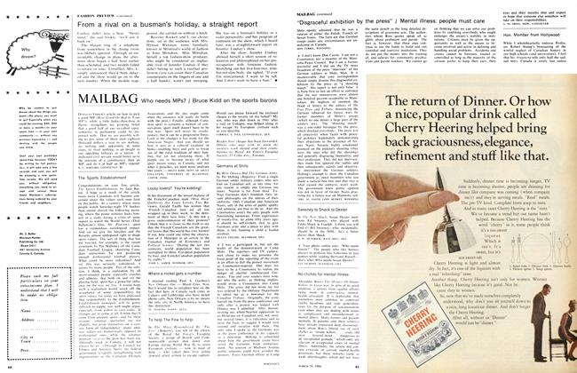 Article Preview: MAILBAG, March 1966 | Maclean's