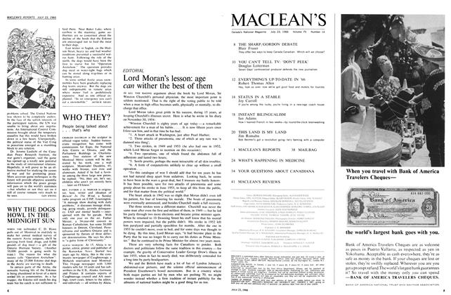 Article Preview: Lord Moran's lesson: age can wither the best of them, July 1966   Maclean's