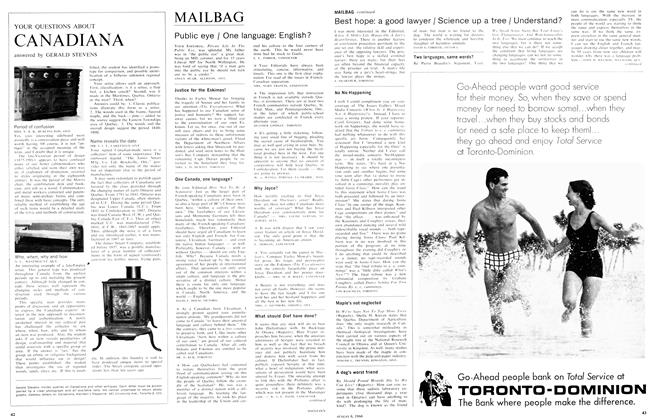 Article Preview: Public eye / One language: English?, August 1966 | Maclean's