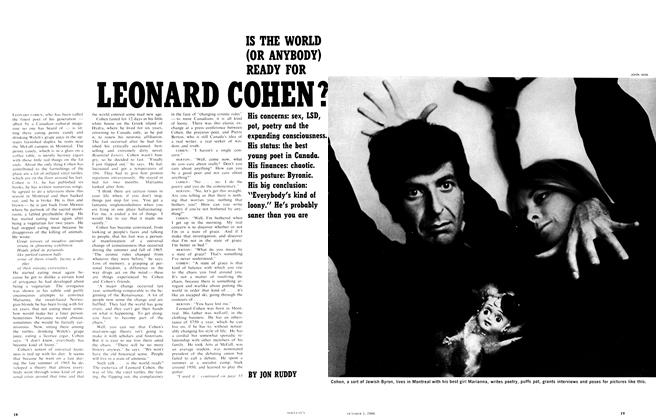 Article Preview: IS THE WORLD (OR ANYBODY) READY FOR LEONARD COHEN ?, October 1966 | Maclean's