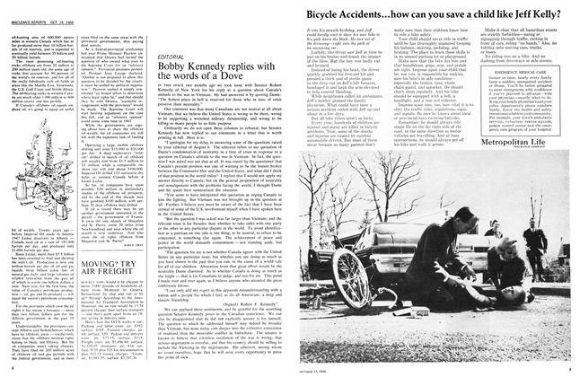 Article Preview: Bobby Kennedy replies with the words of a Dove, October 1966 | Maclean's