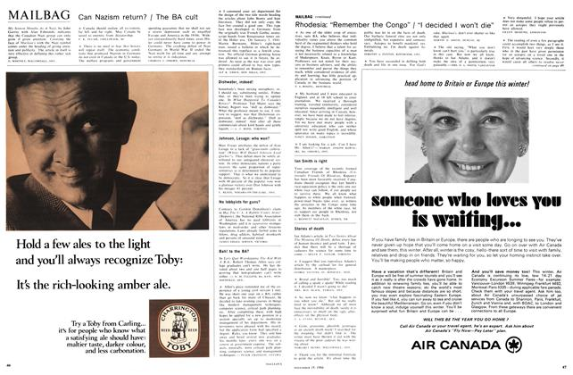 Article Preview: MAILBAG, November 1966 | Maclean's