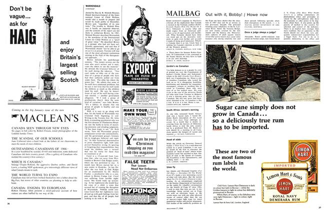 Article Preview: MAILBAG, December 1966 | Maclean's