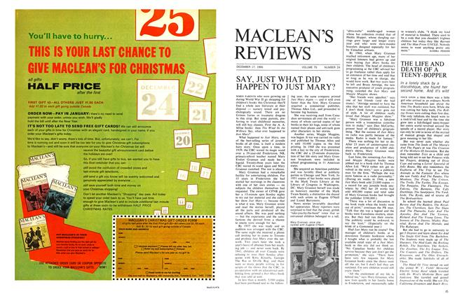Article Preview: SAY, JUST WHAT DID HAPPEN TO JUST MARY?, December 1966 | Maclean's