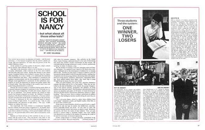 Article Preview: SCHOOL IS FOR NANCY, January 1967 | Maclean's
