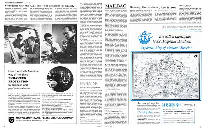 Article Preview: MAILBAG, January 1967 | Maclean's