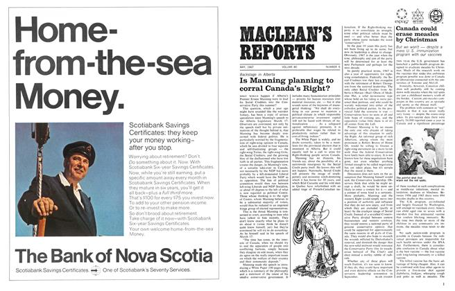 Article Preview: Is Manning planning to corral Canada's Right?, May 1967 | Maclean's