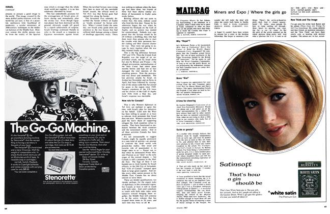 Article Preview: MAILBAG, August 1967 | Maclean's