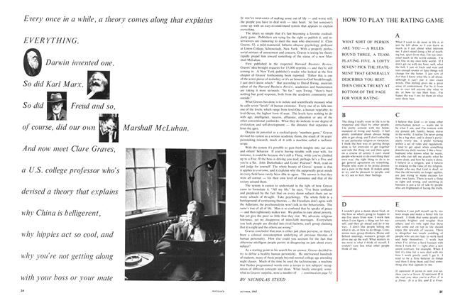Article Preview: Every once in a while, a theory comes along that explains EVERYTHING. Darwin invented one. So did Karl Marx. So did Freud and so, of course, did our own Marshall McLuhan. And now meet Clare Graves, a U.S. college professor who's devised a theory that explains why China is belligerent, why hippies act so cool, and why you're not getting along with your boss or your mate, October 1967 | Maclean's