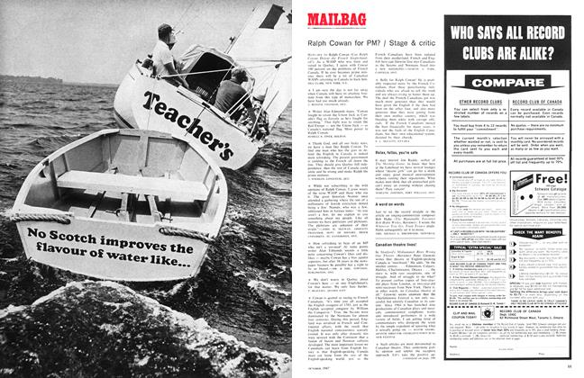 Article Preview: Ralph Cowan for PM? / Stage & critic, October 1967 | Maclean's