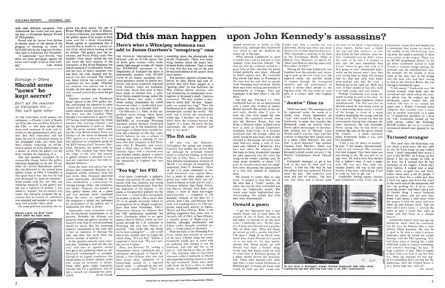 Article Preview: Did this man happen upon John Kennedy's assassins?, November 1967 | Maclean's