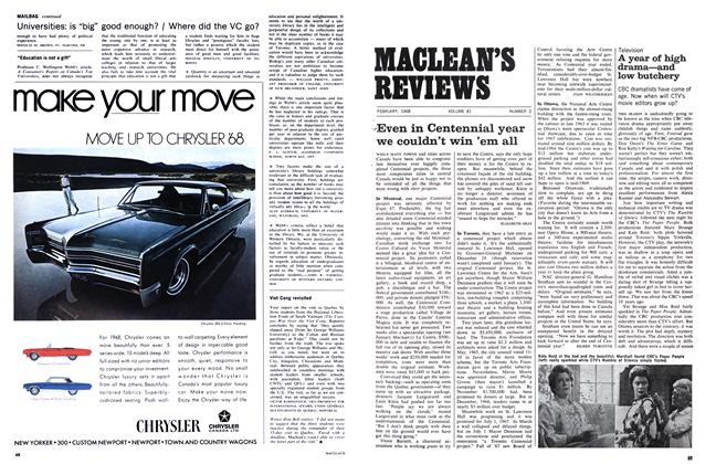 Article Preview: A year of high drama—and low butchery, February 1968 | Maclean's