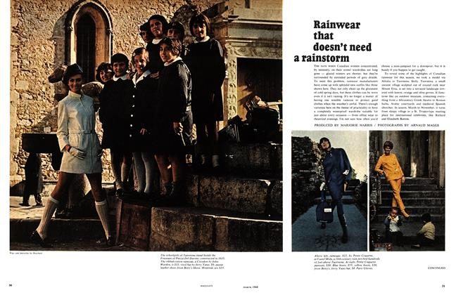 Article Preview: Rainwear that doesn't need a rainstorm, March 1968 | Maclean's