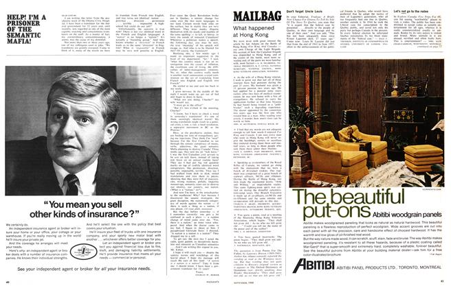 Article Preview: MAILBAG, September 1968 | Maclean's