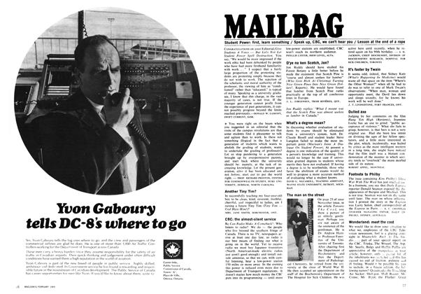 Article Preview: MAILBAG, February 1969 | Maclean's