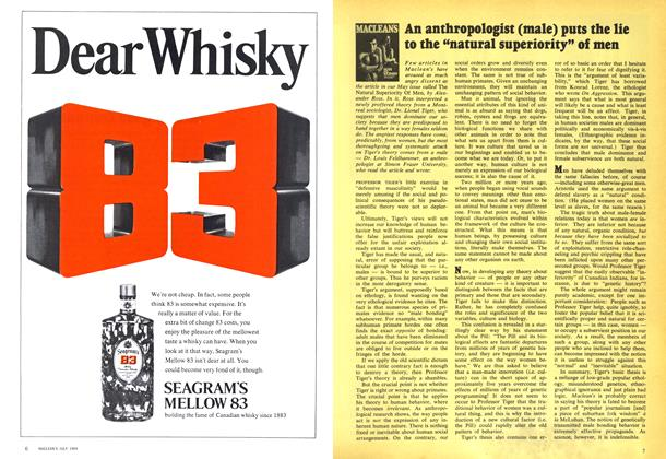 """Article Preview: An anthropologist (male) puts the lie to the """"natural superiority"""" of men, July 1969 