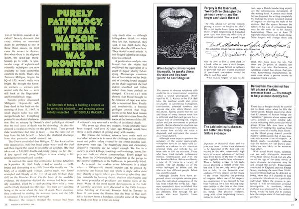 Article Preview: PURELY PATHOLOGY, MY DEAR WATSON-THE BRIDE WAS DROWNED IN HER BATH, September 1969 | Maclean's