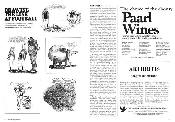 Article Preview: DRAWING THE LINE AT FOOTBALL, November 1969 | Maclean's