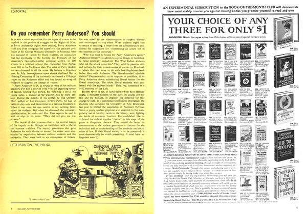 Article Preview: Do you remember Perry Anderson? You should, November 1969 | Maclean's