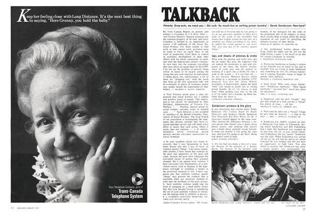 Article Preview: TALKBACK, January 1970 | Maclean's