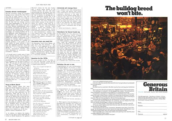Article Preview: LETTERS, March 1970 | Maclean's