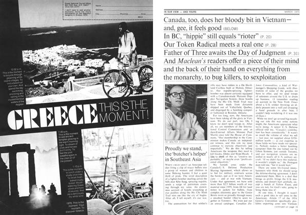 Article Preview: Proudly we stand, the 'butcher's helper' in Southeast Asia, March 1970 | Maclean's