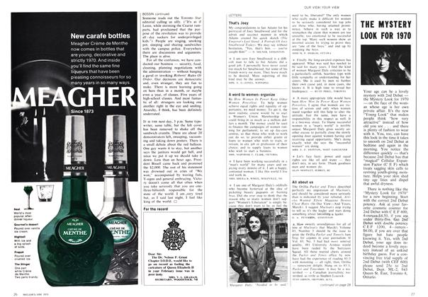 Article Preview: LETTERS, June 1970 | Maclean's
