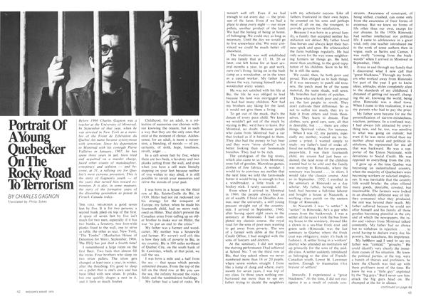 Article Preview: Portrait Of A Young Quebecker On The Rocky Road To Terrorism, August 1970 | Maclean's