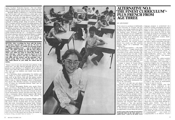 Article Preview: ALTERNATIVE NO. 1: 'THE FINEST CURRICULUM'PLUS FRENCH FROM AGE THREE, September 1970 | Maclean's