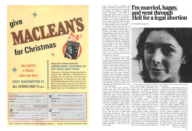 Article Preview: I'm married, happy, and went through Hell for a legal abortion, October 1970 | Maclean's