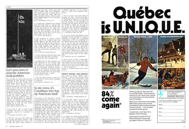 Article Preview: In my town, it's Canadians who buy up American land!, January 1971 | Maclean's