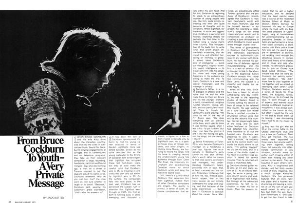 Article Preview: From Bruce Cockburn To Youth-A Very Private Message, January 1971 | Maclean's