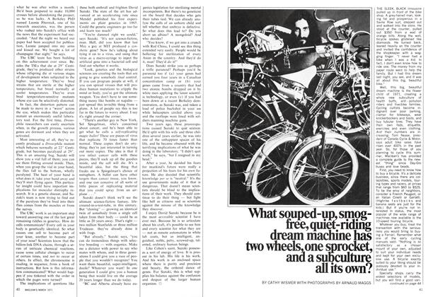 Article Preview: What souped-up, smogfree, quiet-riding dream machine has two wheels, one sprocket, and a subculture all its own?, March 1971 | Maclean's