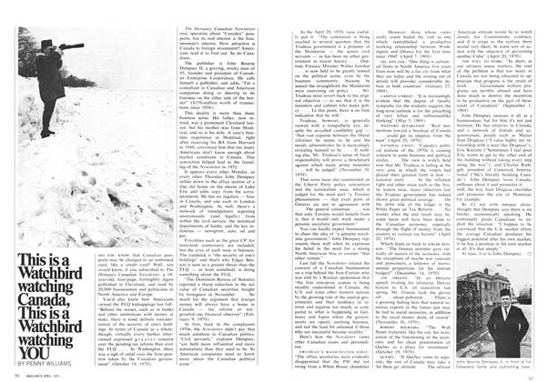 Article Preview: This is a Watchbird watching Canada, This is a Watchbird watching YOU, April 1971 | Maclean's