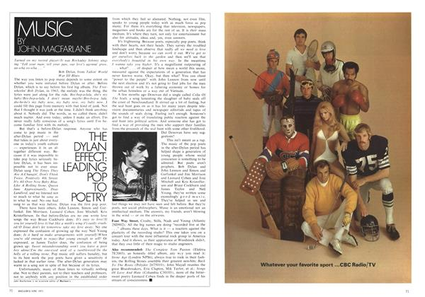 Article Preview: THE DYLAN EFFECT: LEADING POP TO POETRY, June 1971 | Maclean's