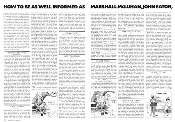 Article Preview: HOW TO BE AS WELL INFORMED AS MARSHALL McLUHAN,JOHN EATON,LESTER PATRICK WATSON,, September 1971 | Maclean's