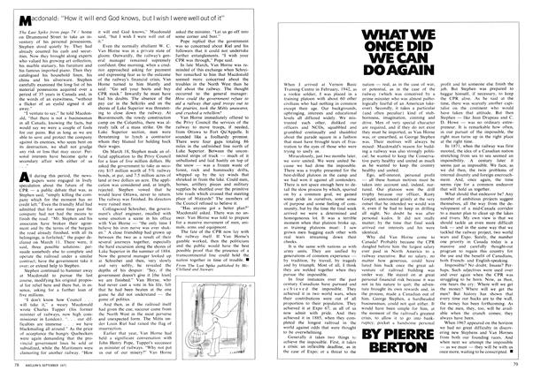 Article Preview: WHAT WE ONCE DID WE CAN DO AGAIN, September 1971 | Maclean's