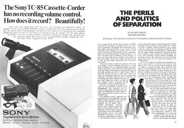 Article Preview: THE PERILS AND POLITICS OF SEPARATION, October 1971 | Maclean's