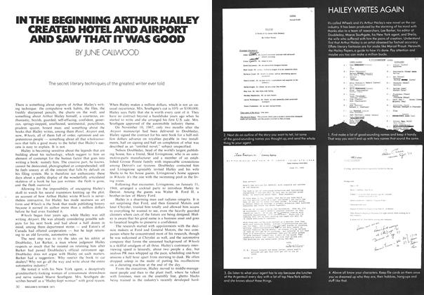Article Preview: IN THE BEGINNING ARTHUR HAILEY CREATED HOTEL AND AIRPORT AND SAW THAT IT WAS GOOD, October 1971 | Maclean's
