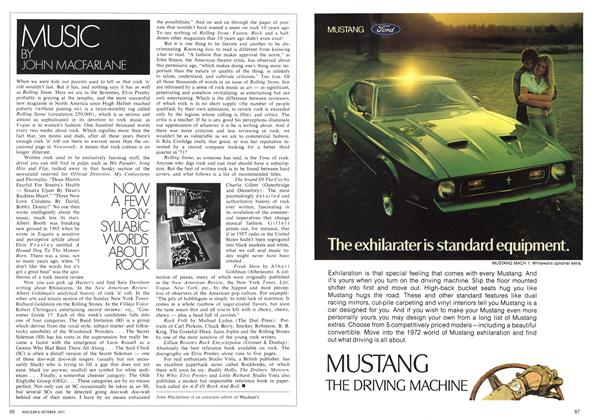 Article Preview: NOW A FEW POLYSYLLABIC WORDS ABOUT ROCK, October 1971 | Maclean's
