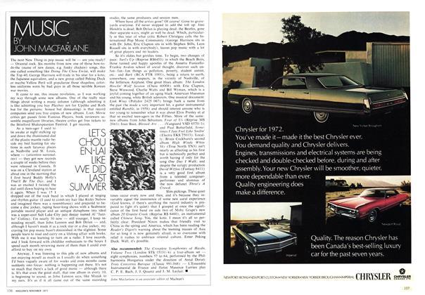Article Preview: LET'S CHOU EN-LAI LIKE WE DID LAST SUMMER, November 1971 | Maclean's