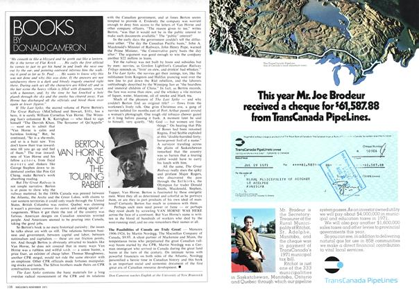 Article Preview: BERTON, VAN HORNE AND THE TOURING RABBIT, November 1971 | Maclean's