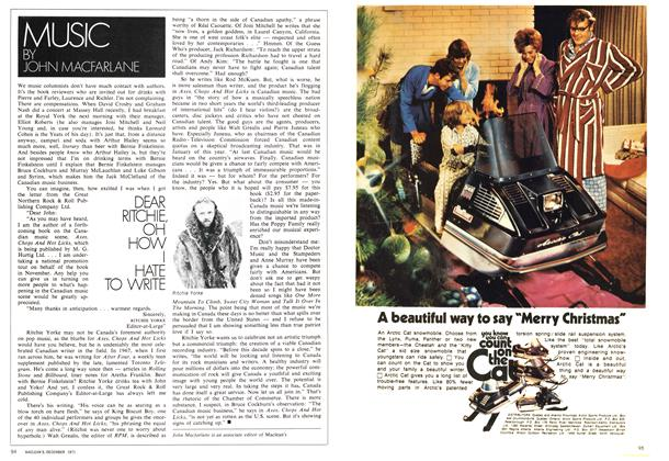 Article Preview: DEAR RITCHIE, OH HOW HATE TO WRITE, December 1971 | Maclean's