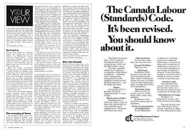Article Preview: YOUR VIEW, December 1971 | Maclean's