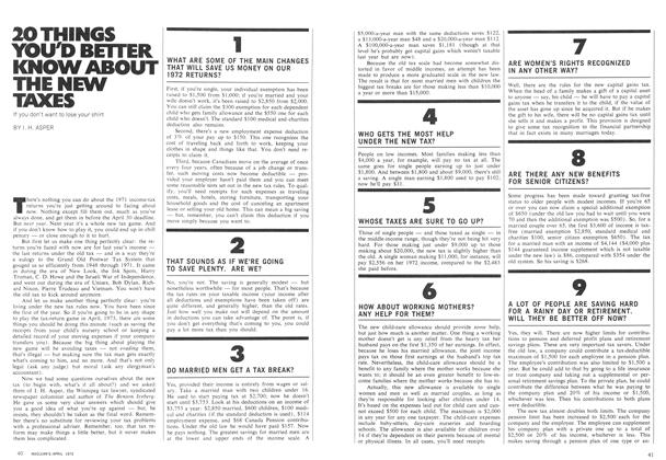 Article Preview: 20 THINGS YOU'D BETTER KNOW ABOUT THE NEW TAXES, April 1972 | Maclean's