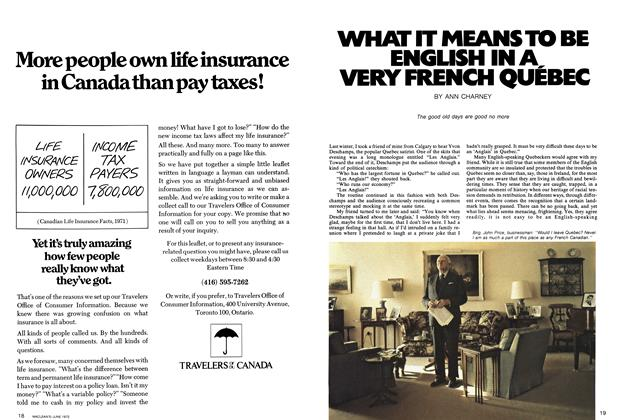 Article Preview: WHAT IT MEANS TO BE ENGLISH IN A, VERY FRENCH QUEBEC, June 1972 | Maclean's
